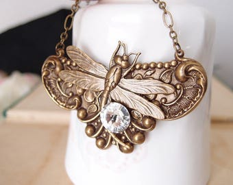 Full Moon Night---Victorian style art nouveau dragonfly aged brass statement necklace N005