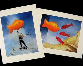Two different Snack Fish prints to decorate any room... Get BOTH for one low price...Gold Fish Swedish Fish Kids room Art