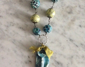 Key, keyhole, faceted polymer clay beaded necklace
