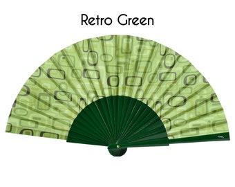 Hand Fan, green retro print, summer fashion accessories, wooden fan, gift ideas for women, unique gift, Free Shipping Worldwide