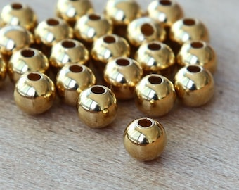 Gold Plated Round Seamed Beads, 3mm - 100 pcs - eSR03GP-3
