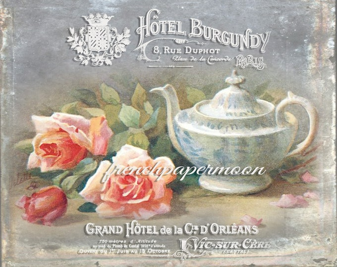 Shabby Digital French teatime, French Hotel, Teapot, Roses, French Pillow Image, Fabric Transfer, French Crafts