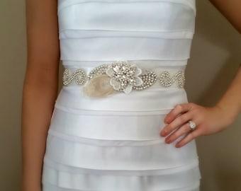 Rhinestone Wedding Sash – Bridal Belt with Rhinestone Flower, Feathers and Lace