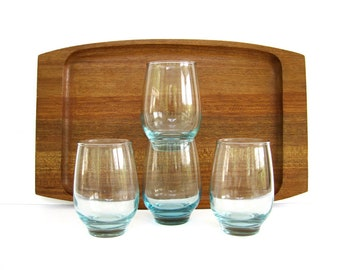 Mid Century Glass Tumbler Set, Stackable Drinking Glasses, Libbey Aqua Tempo, Everyday Beverage Cocktail Drinkware