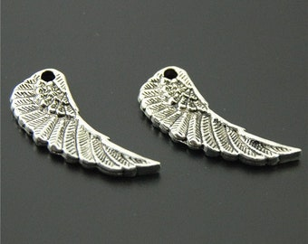 20pcs Antique Silver Angel Wing Charms Pendant A401