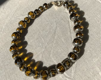 Amber an Silver Glass Beaded Bracelet