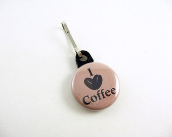 I Love Coffee, Zipper Pull, Zipper Charm, Brown, Coffee Bean, Java