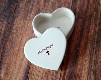 Personalized Baptism Gift, First Communion Gift or Confirmation Gift - Heart Keepsake Box - With Gift Box