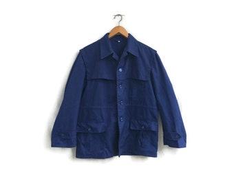 Vintage Blue WORK Jacket . Mens Chore Jacket Workwear Lightweight Jacket Parka 1970s Outerwear Utility Style Jacket  Menswear. size Large L