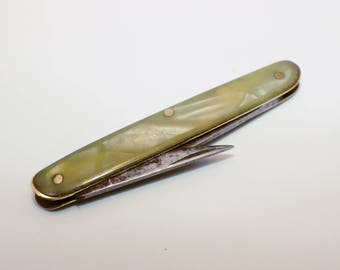 Antique Pen Knife, Mother of Pearl, Quill Cutter Knife, Desk Top Accessory, Vintage Fathers Day Gift