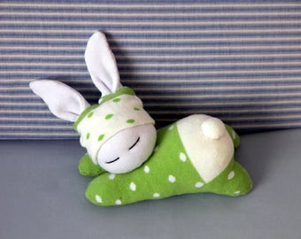 Sleeping sock bunny in green dotted cloth, Easter bunny, Waldorf inspired rabbit, Stuffed toy animal, Baby gift, Nursery decoration