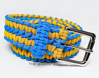 Paracord Belt Carolina Blue and Yellow - with Nickle Buckle - XS S M L XL XXL
