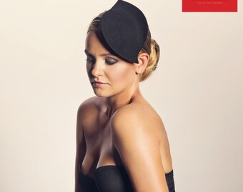 Wool felt fascinator, wool headpiece, black fascinator, fascinator hat, race hat, leaf shape fascinator