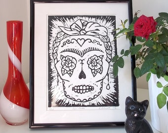SALE Sugar Frida Lino Print in black - Frida Kahlo inspired Day of the Dead Sugar Skull