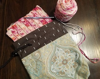 Knitting and Crochet Project Bag- Cotton Project Bag Paisley Brown and Blue Drawstring Tote