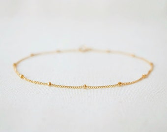 Satellite bracelet, gold, sterling silver, rose gold, beaded chain, dotted, simple, minimal, dainty, delicate, layering bracelet, Veronica
