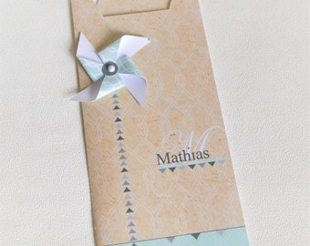 """Share """"Windmill"""" customizable wallet Kraft, white and green water - for baptism, communion, wedding..."""