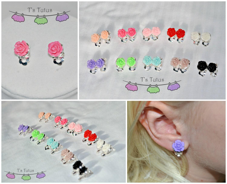 Rose Clip-On Earrings Girls earrings Every day earrings Kid