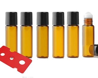 24 Dark Amber Micro Mini 5ml Rollon Bottles STAINLESS STEEL/GLASS Roller Balls Perfume Oil 1/6 Oz Lip Balm 5 ml W/ Bonus Essential Oil Key