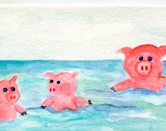 Happy Pigs original watercolor painting. 4 x 6  piggies swimming in ocean, watercolor painting of pigs,  whimsical Pig Art