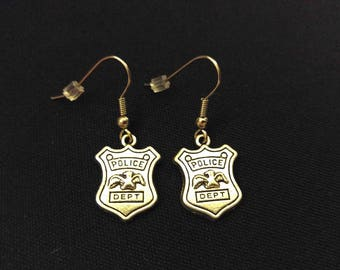 POLICE DEPT BADGE Charm Earrings Stainless Steel Ear Wire Silver Metal Unique Gift
