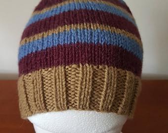 Men's Hand Knitted Beanie - Brown/burgundy/blue