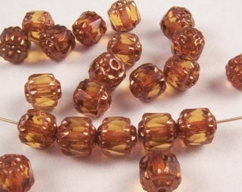 Dk.Topaz and Golden Bronze Faceted Czech Cathedral Beads