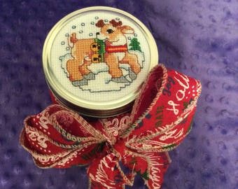 Christmas Jar with Cross-Stitched Reindeer Lid
