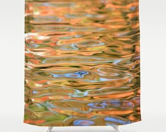 Orange Shower Curtain-Water Shower Curtain-Woodland Decor-Colorful Bath Decor-Autumn Decor-Shower Curtain-Bath Curtain-Fabric Shower Curtain