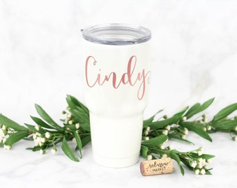 Personalized SWIG 30 oz. Stainless Steel Tumbler, Personalized Cup, Custom Tumbler w/ Lid, Pearl White