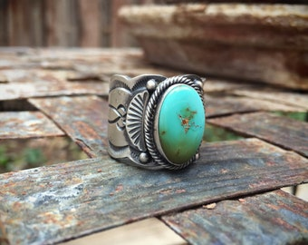 Turquoise Sterling Silver Cigar Band Ring for Men, Southwestern Jewelry, Turquoise Ring, Navajo Jewelry, Native American Ring, Gift for Him