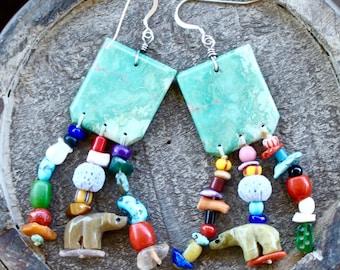 Vintage Treasure Bead Turquoise Dangle Earrings, Santo Domingo