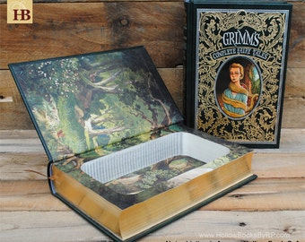 Hollow Book Safe - Grimm's Complete Fairy Tales - Dark Green Leather Bound
