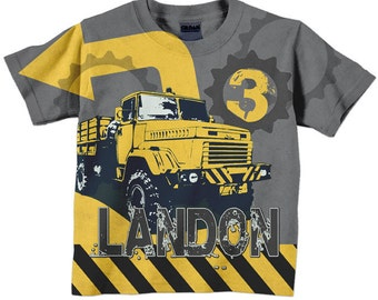Boys Construction Shirt, Personalized Birthday Dump Truck Shirt, Number T-Shirt, Boys Shirt
