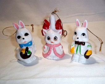 Three Vintage Hand Painted Bone China Christmas Ornaments - Adorable Rabbits and Cat
