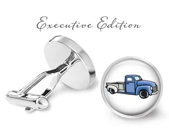 Pickup Truck Cufflinks - Classic Truck Cufflinks - Retro Pickup Cuff Links - Classic Car Cufflink (Pair) Lifetime Guarantee (S0260)