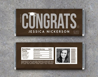 Graduation CONGRATS Candy Bar Wrappers–Printable Graduation Hershey Wrapper w/ PHOTO, name & personalized text–Graduation gift or gift tag