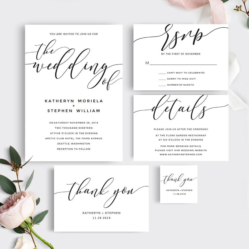 Printable Wedding Invitation Template. Calligraphy Wedding