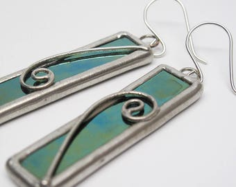 Moonlight Magic - Sterling Silver Stained Glass Earrings