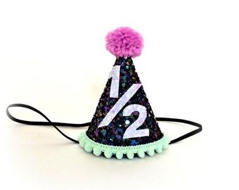 Half Birthday Party Hat Pink First Birthday Crown Hat Glitter Cake Smash Smash Cake Little Blue Olive