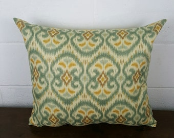 Gold, Bronze, Mocha Soft Mint Ikat Moroccan Bohemian Design Exclusive Cushion Pillow Cover by Peacock and Penny. 45cms x 45cms