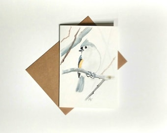 Tufted Titmouse Watercolor Painting Card-  bird watercolor painting 5x7