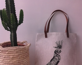 Parrot in linen with leather handles bag