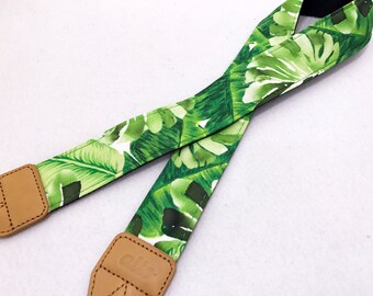 Designer Tropical Leave camera strap with genuine leather ends