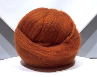 Fox red merino roving, rust red spinning fiber, merino wool, needle felting wool, brick red, brown red, nutmeg brown, copper red roving
