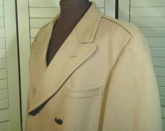 Vintage John Wanamaker Wool Overcoat Men's Full Length Camel Hair Tan Heavy Classic Traditional Dress Business Lined Size Large Extra Large