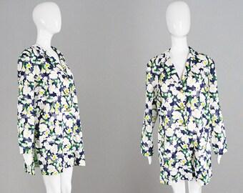 Vintage 80s Sheer Floral Blazer Oversized Navy Blue & White Cotton Jacket Lightweight Top Summer Blouse Womens Voile Blazer 1980s Cover Up