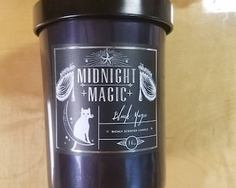 Midnight magic candle, Halloween candle, black candle