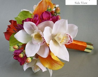 Mango/yellow/orange, coral, hot pink, fuchsia, green, bouquet, Real Touch flowers, calla lilies, orchids, Tropical silk wedding flowers