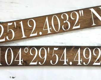 Wood signs- City coordinates- Longitude- Latitude- Housewarming gift- Gift for her- Rustic decor- Home decor- Wall hangings-Custom sign